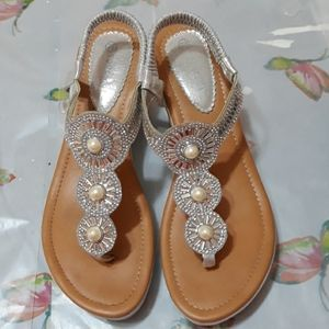Ladies silver sequin and Pearl sandals